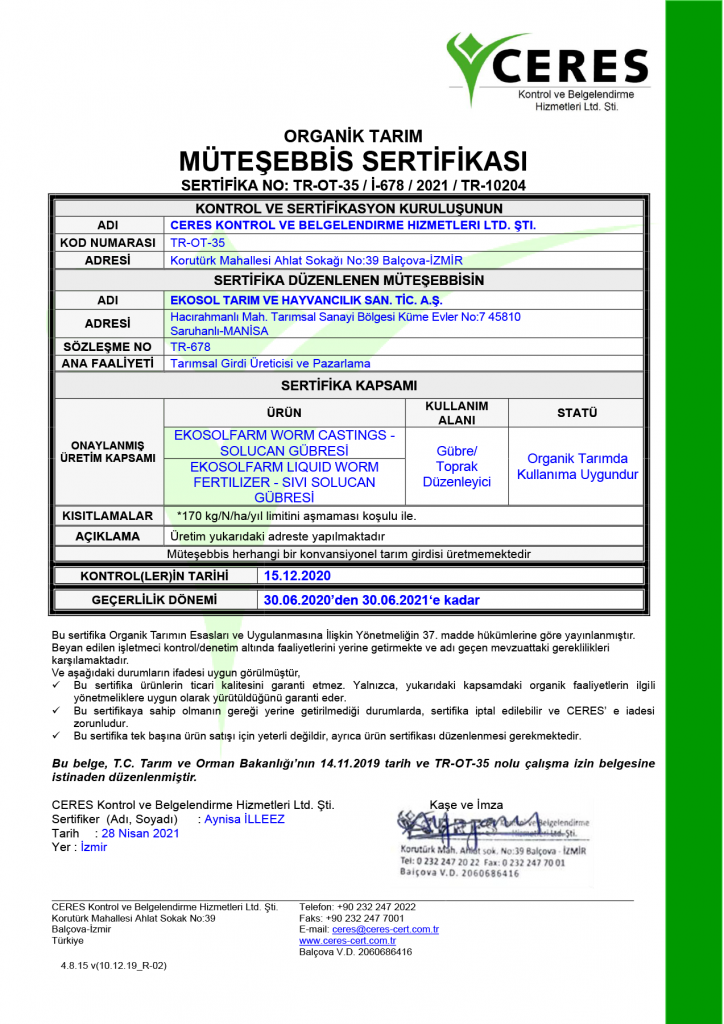 EkosolFarm Ceres Sertifika 2021